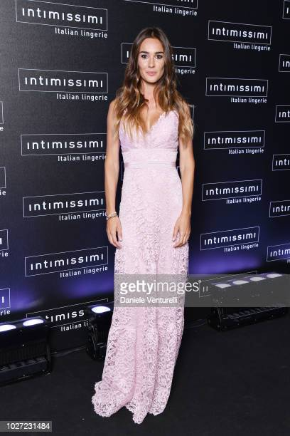 Silvia Toffanin attends the Intimissimi Show on September 5, 2018 in Verona, Italy.