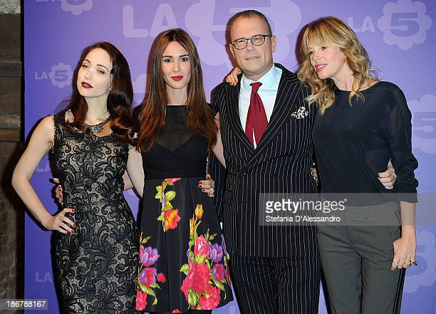 Silvia Toffanin, Chiara Francini, Cesare Cunaccia and Alessia Marcuzzi attend Fashion Style TV Show Photocall on November 4, 2013 in Milan, Italy.