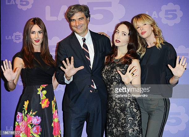 Silvia Toffanin, Giancarlo Scheri, Chiara Francini and Alessia Marcuzzi attend Fashion Style TV Show Photocall on November 4, 2013 in Milan, Italy.