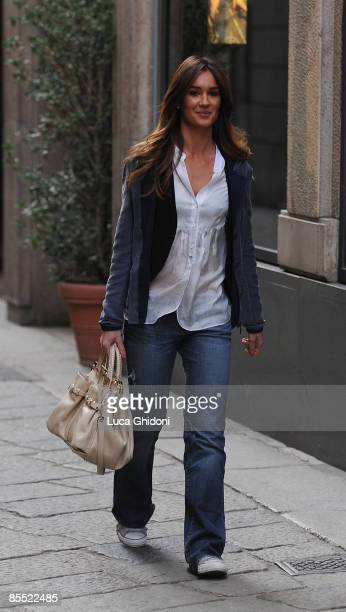 Silvia Toffanin, girlfriend of Piersilvio Berlusconi is sighted shopping on March 19, 2009 in Milan, Italy.