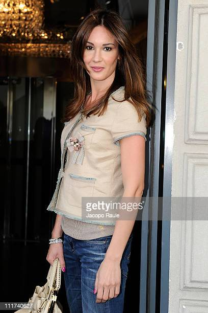Silvia Toffanin is seen arriving at Tommy Hilfiger store on April 6, 2011 in Milan, Italy.