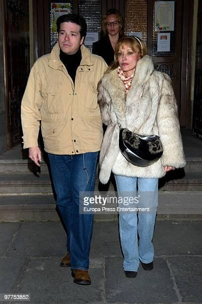 Silvia Tortosa and her boyfriend Carlos Canovas attend the funeral service for the Spanish public relation Conchita Vilella on March 16 2010 in...
