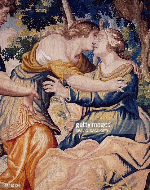 Silvia treating Phillis after a bee sting under the envious eyes of Amyntas detail from the Story of Aminta and Sylvia ca 1635 cloth tapestry for...