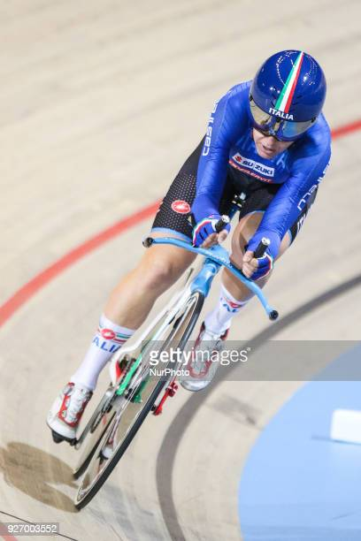 Silvia Valsecchi Women`s individual pursuit qualifyng during the UCI Track Cycling World Championships in Apeldoorn on March 3 2018
