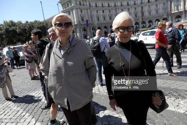 Silvia Venturini Fendi and Anna Fendi attend the Laura Biagiotti funeral service in Basilica Santa Maria degli Angeli on May 27 2017 in Rome Italy