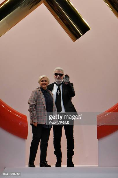 Silvia Venturini Fendi and fashion designer Karl Lagerfeld walk the runway at the Fendi Ready to Wear fashion show during Milan Fashion Week...