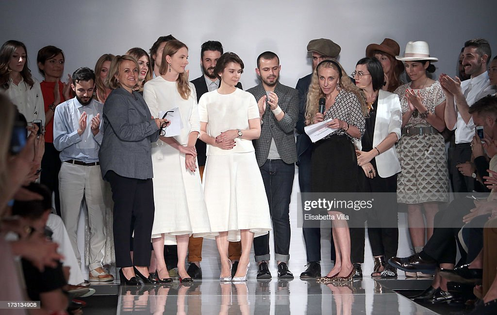 Silvia Venturini Fendi (4th L) and Franca Sozzani (4th R) attend 'Who Is On Next?' Altaroma Vogue Italia fashion show as part of AltaRoma AltaModa Fashion Week at Santo Spirito In Sassia on July 8, 2013 in Rome, Italy.