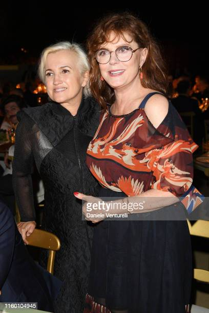 Silvia Venturini Fendi and Susan Sarandon attend the Fendi Couture Fall Winter 2019/2020 Dinner on July 04, 2019 in Rome, Italy.