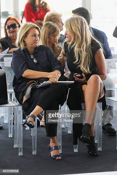 Silvia Venturini Fendi and Tiziana Rocca attend the Sarli Couture A/W 2014 Italian Haute Couture colletion fashion show as part of AltaModa Fashion...