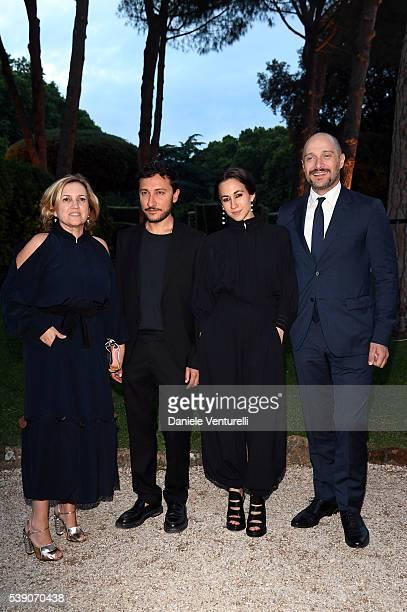Silvia Venturini Fendi Delfina Delettrez Fendi and Claudio Santamaria attend McKim Medal Gala In Rome at Villa Aurelia on June 9 2016 in Rome Italy