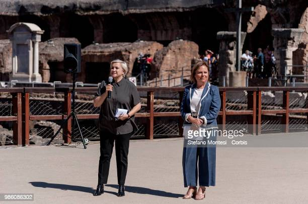 Silvia Venturini Fendi President of Altaroma and Alfonsina Russo Director of the Archaeological Park of the Colosseum during the press conference...