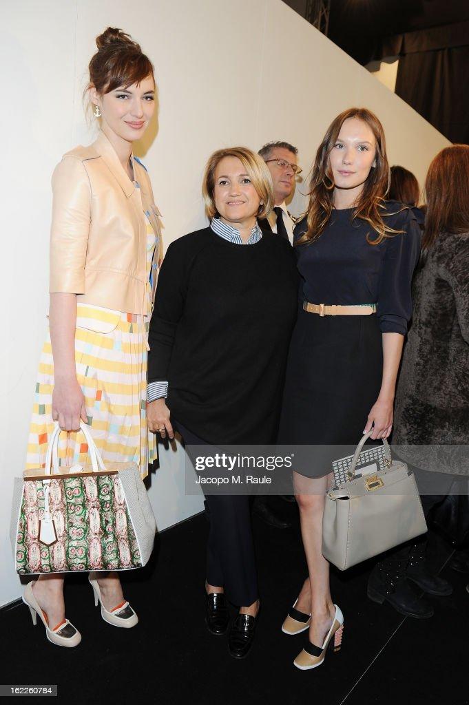 Silvia Venturini, Louise Bourgoin and Ana Girardot attends the Fendi fashion show as part of Milan Fashion Week Womenswear Fall/Winter 2013/14 on February 21, 2013 in Milan, Italy.