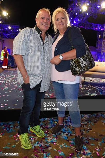 Silvia Wollny and her boyfriend Harald Elsenbast attend the Promi Big Brother final at MMC Studios on August 23 2019 in Cologne Germany