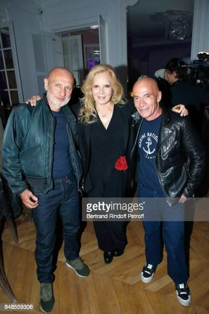Silvie Vartan standing between Pierre et Gilles attend the Dinner after Sylvie Vartan performed at L'Olympia on September 16 2017 in Paris France