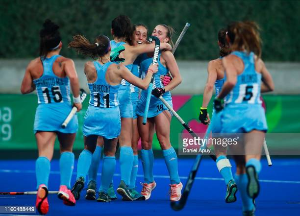 Silvina D Elia of Argentina celebrate after scoring goal during Hockey Women Final on Day 14 of Lima 2019 Pan American Games at Hockey Field of...