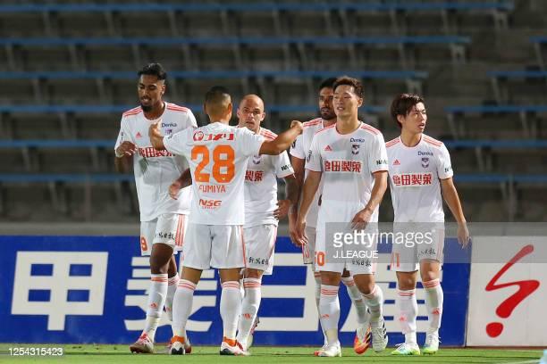 Silvinho of Albirex Niigata celebrates scoring his side's third goal with his team mates during the J.League Meiji Yasuda J2 match between Ventforet...
