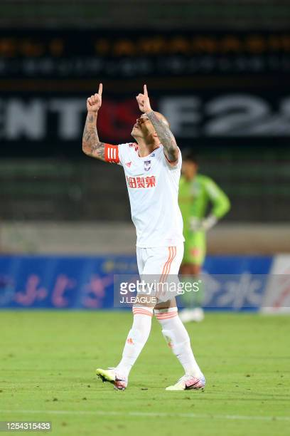 Silvinho of Albirex Niigata celebrates scoring his side's third goal during the J.League Meiji Yasuda J2 match between Ventforet Kofu and Albirex...