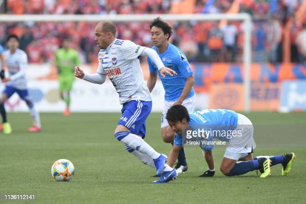 Silvinho of Albirex Niigata in action during the JLeague J2 match between Yokohama FC and Albirex Niigata at nippatsu Mitsuzawa Stadium on March 16...