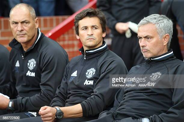 Silvino Louro coach Rui Faria Assistant manager and Jose Mourinho the head coach / manager of Manchester United during the Wayne Rooney Testimonial...