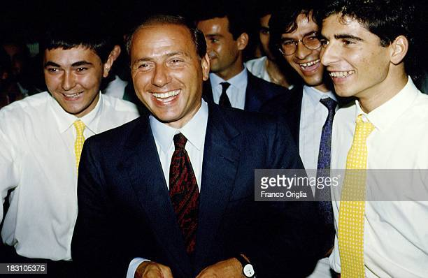Silvio Berlusconi acknowledges his supporters in 1992 ca in Italy