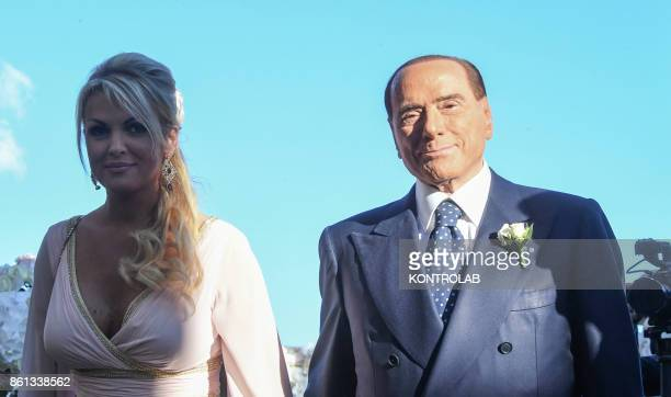 Silvio Berlusconi and Francesca Pascale in Ravello at the wedding of her sister Marianna Pascale