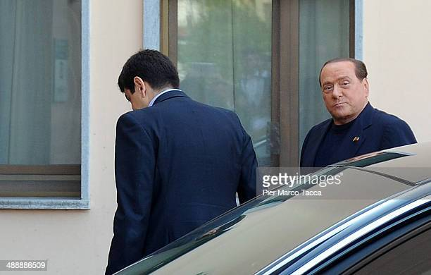 Silvio Berlusconi arrives at Fondazione Sacra Famiglia in Cesano Boscone on May 9 2014 in Milan Italy Today Silvio Berlusconi starts his community...