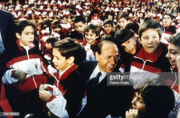 Silvio Berlusconi attends a Christmas party of his football team A.C. Milan on December 20, 1993 in Milan, Italy.