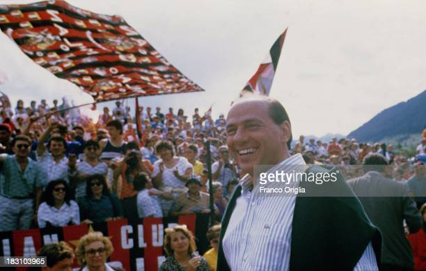 Silvio Berlusconi attends a training session of his football team AC Milan in 1993 ca in Milanello Italy