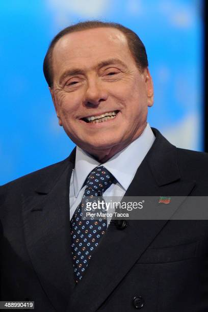 Silvio Berlusconi attends the 'Iceberg' Tv show on May 9 2014 in Milan Italy The former Italian Prime Minister appeared on the television show for an...