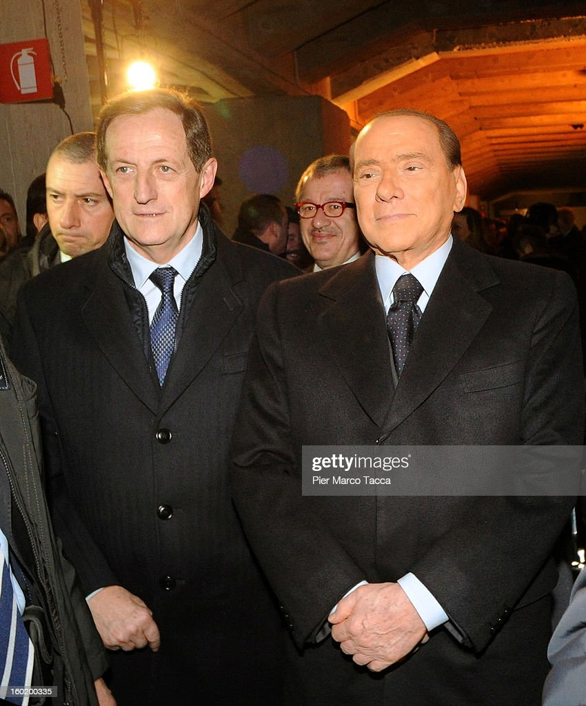 Silvio Berlusconi attends the opening of 'Memoriale della Shoa' on International Holocaust Remembrance Day on January 27, 2013 in Milan, Italy. 'Memoriale della Shoa' is located at Platform 21 (Binario 21), which formed part of a secret underground rail network that transported hundreds of Jews to camps such as Auschwitz and Dachau, from1943 to 1945.