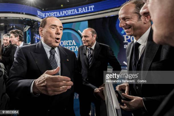 Silvio Berlusconi attends the TV debate show Porta a Porta at RAI's broadcast studios on February 14 2018 in Rome Italy Italy is set to hold a...