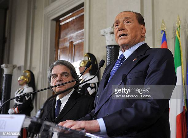 Silvio Berlusconi delivers a speech after meeting with Italian President Sergio Mattarella at Palazzo del Quirinale on December 8 2016 in Rome Italy...
