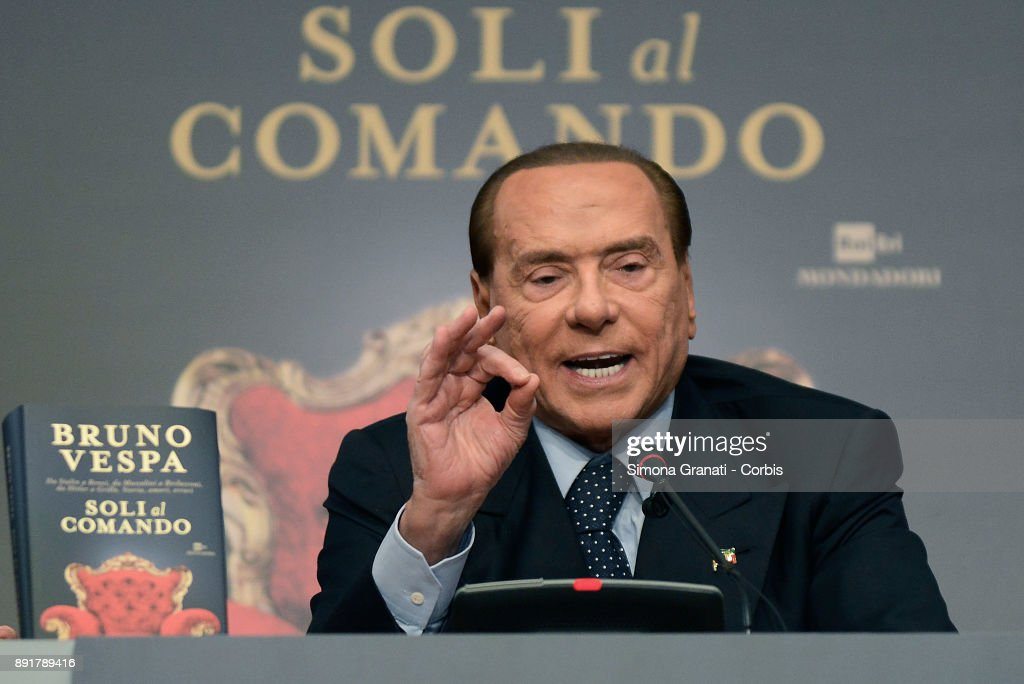 Silvio Berlusconi during the presentation of Bruno Vespa's book ' Soli al Comando, at the Tempio di Adriano, on December 13, 2017 in Rome, Italy.