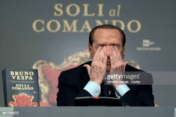 Silvio Berlusconi during the presentation of Bruno Vespa's book ' Soli al Comando at the Tempio di Adriano on December 13 2017 in Rome Italy