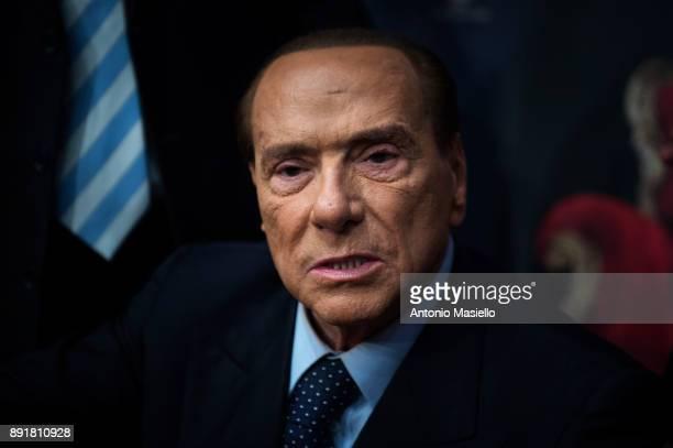 Silvio Berlusconi Forza Italia leader takes part at the book launch of Bruno Vespa 'Soli al Comando' on December 13 2017 in Rome Italy