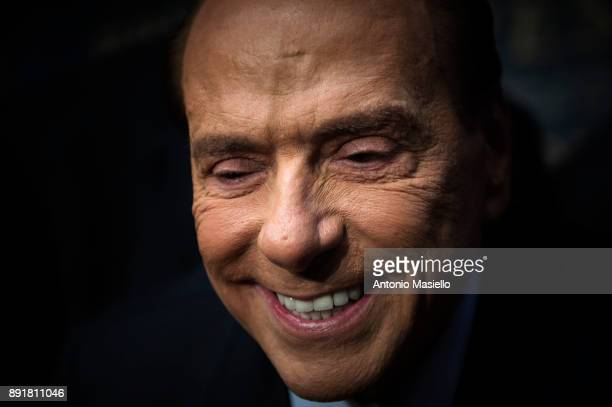 Silvio Berlusconi Forza Italia leader takes part at the book launch of Bruno Vespa 'Soli al Comando' on December 13 2017 in Rome Italy