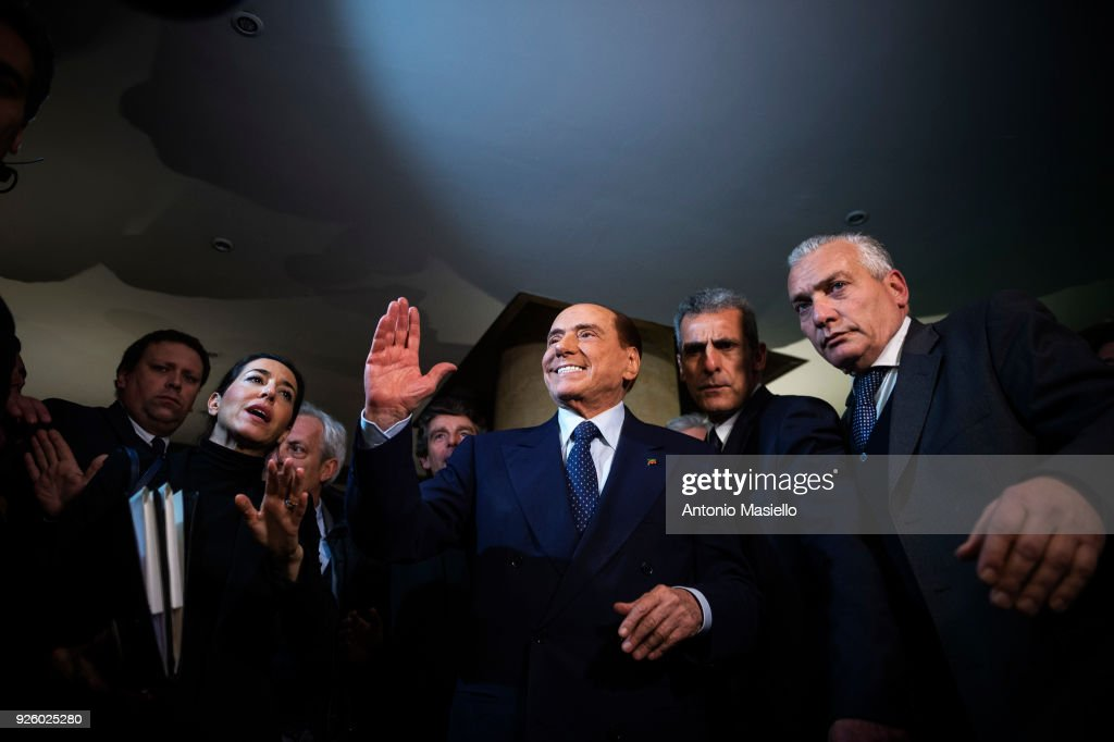 Silvio Berlusconi, Forza Italia leader, takes part to an event of the center-right coalition for the upcoming general political election on March 01, 2018 in Rome, Italy. The Italian General Election takes place on March 4th 2018.