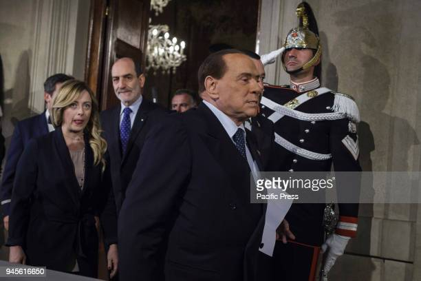 Silvio Berlusconi Forza Italia party President arrives to speak with journalists after a meeting with Italian President Sergio Mattarella during a...