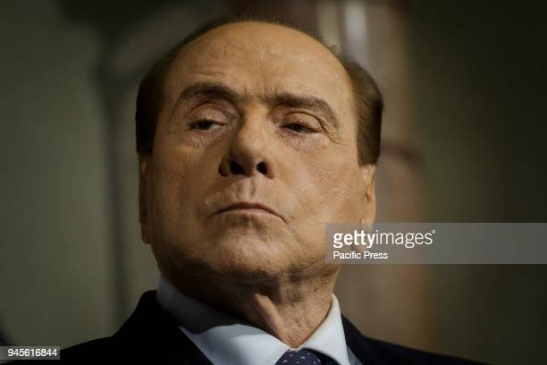 Silvio Berlusconi Forza Italia Party president attends a press conference after a meeting with Italian President Sergio Mattarella during a second...