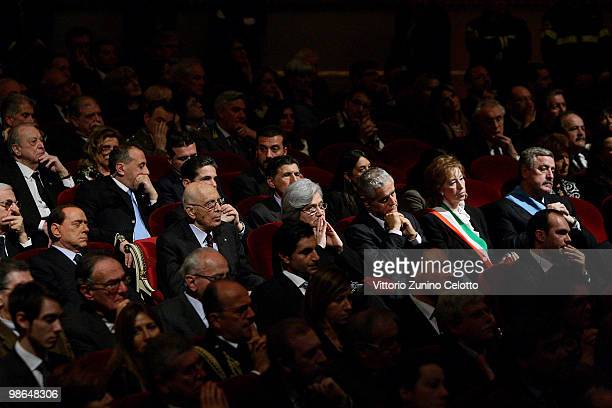 Silvio Berlusconi Giorgio Napolitano Rosy Bindi Roberto Formigoni Letizia Moratti and Guido Podesta attend the celebrations for Italy's Liberation...
