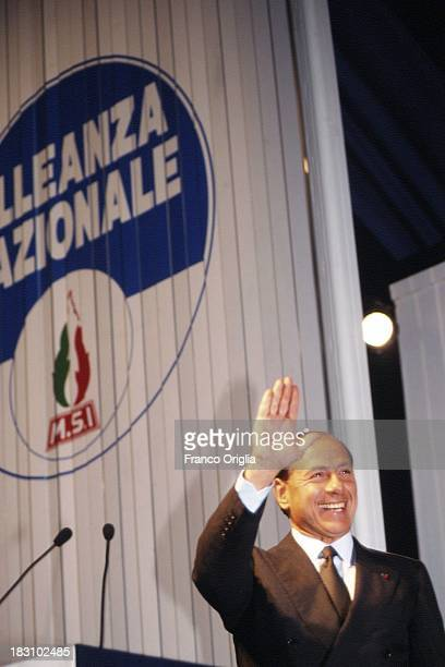 Silvio Berlusconi holds a speech during the national congress of 'Alleanza Nazionale' party, announcing its new name from former MSI on January 28,...