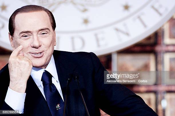 Silvio Berlusconi Italy's Prime Minister attends his end of the Year Press Conference at Villa Madama in Rome Italy
