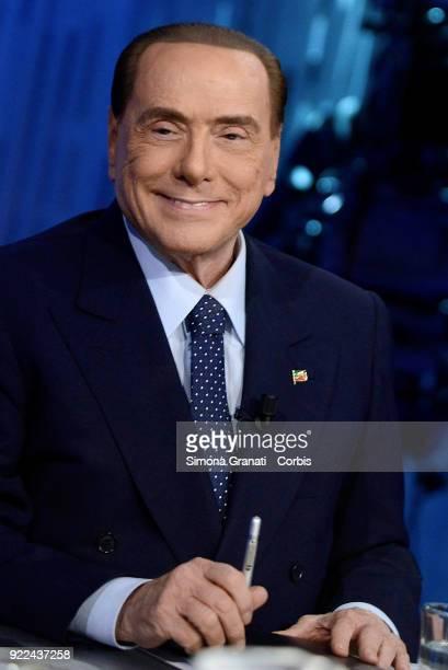 Silvio Berlusconi leader of forza Italia party attends Otto e Mezzo talk show on February 21 2018 in Rome Italy The Italian General Election takes...