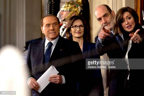 Silvio Berlusconi leader of 'Forza Italia' party, Mariastella Gelmini and Anna Maria Bernini attend a press conference after a meeting with Italy's...