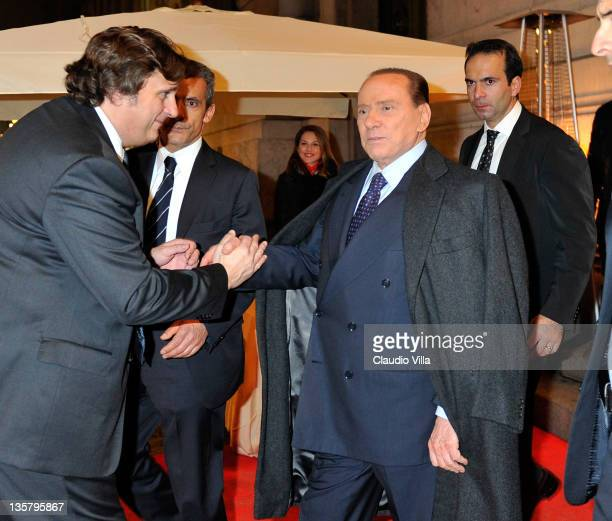 Silvio Berlusconi leaves after the AC Milan Christmas Party at the Royal Pavilion at the Central Station on December 14 2011 in Milan Italy
