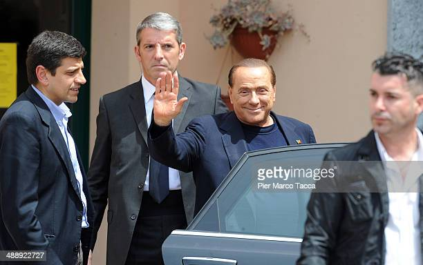 Silvio Berlusconi leaves the Fondazione Sacra Famiglia on May 9 2014 in Milan Italy Today Silvio Berlusconi starts his community service for tax...