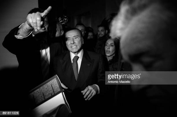 Silvio Berlusconi takes part at the book launch of Bruno Vespa 'Soli al Comando' on December 13 2017 in Rome Italy