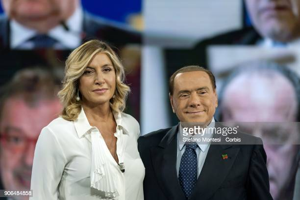 Silvio Berlusconi with conductor Myrta Merlino appears as a guest on the talk show ''L'aria che tira' television channel La7 on January 18 2018 in...