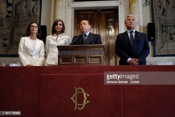 Silvio Berlusconi with Mariastella Gelmini, Anna Maria Bernini and Antonio Tajani , of Forza Italia party, speaks to the press at the end of the...