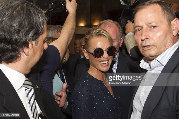 Silvio Berlusconi's girlfriend Francesca Pascale leaves from Hotel Palace on May 15 2015 in Bari Italy Berlusconi is visiting the Puglia Region to...